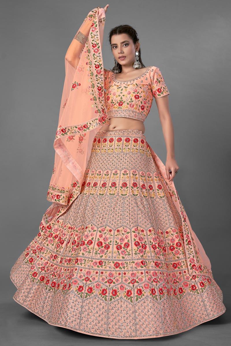 Wedding Wear Thread Embroidered Lehenga Choli In Peach Color Art Silk Fabric