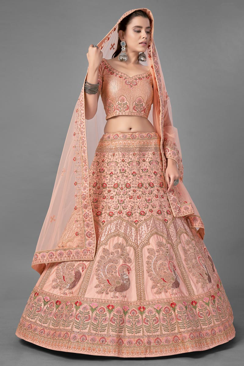 Peach Color Satin Fabric Sangeet Wear Thread Embroidered Lehenga Choli
