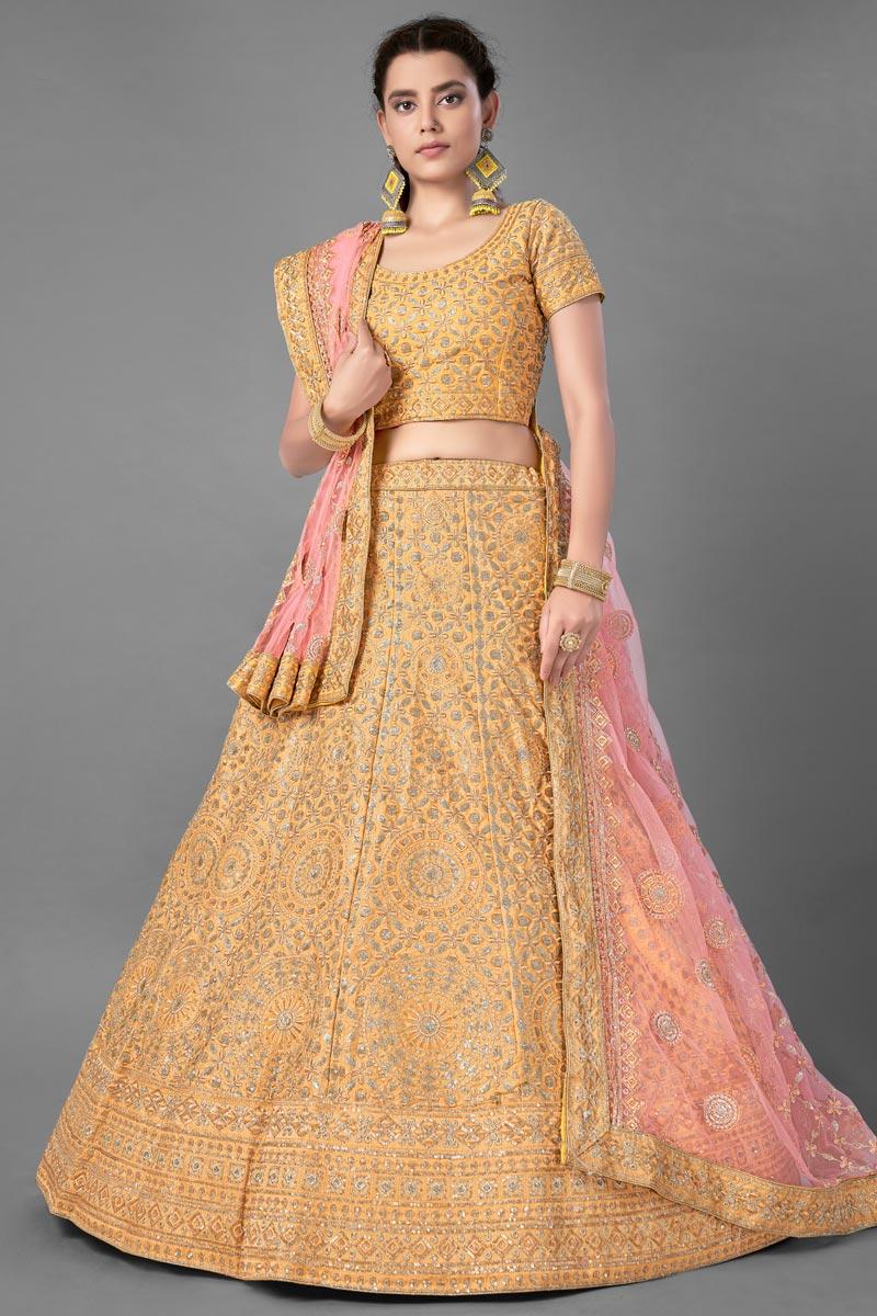 Art Silk Fabric Yellow Color Designer 3 Piece Lehenga Choli