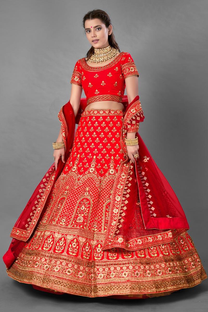 Red Color Thread Embroidered Satin Fabric Wedding Wear Lehenga Choli