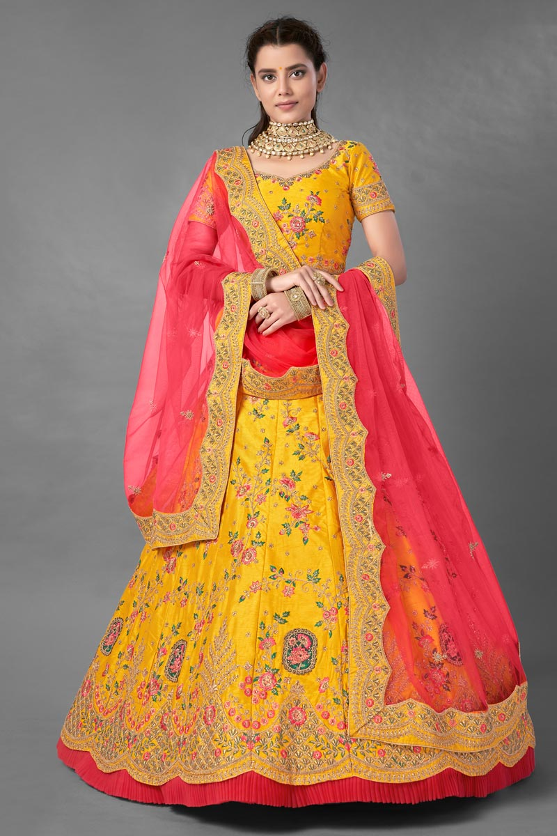 Yellow Color Art Silk Fabric Thread Embroidered Reception Wear Lehenga Choli