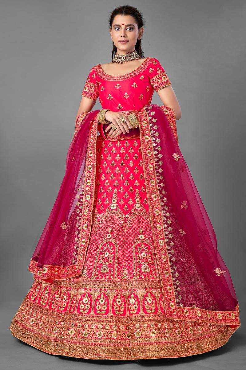 Thread Embroidered Designs Satin Fabric Rani Color Wedding Wear Lehenga Choli