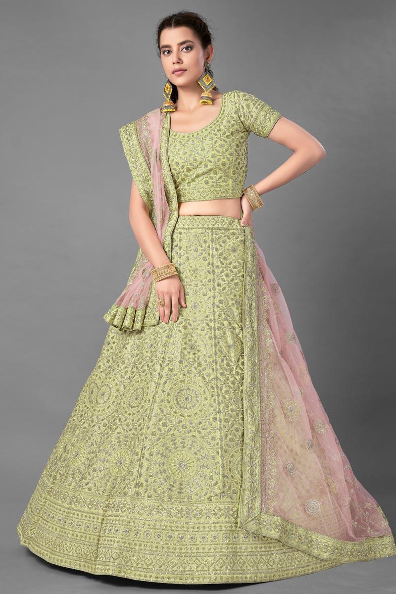 Art Silk Fabric Sea Green Color Wedding Wear Thread Embroidered Lehenga Choli