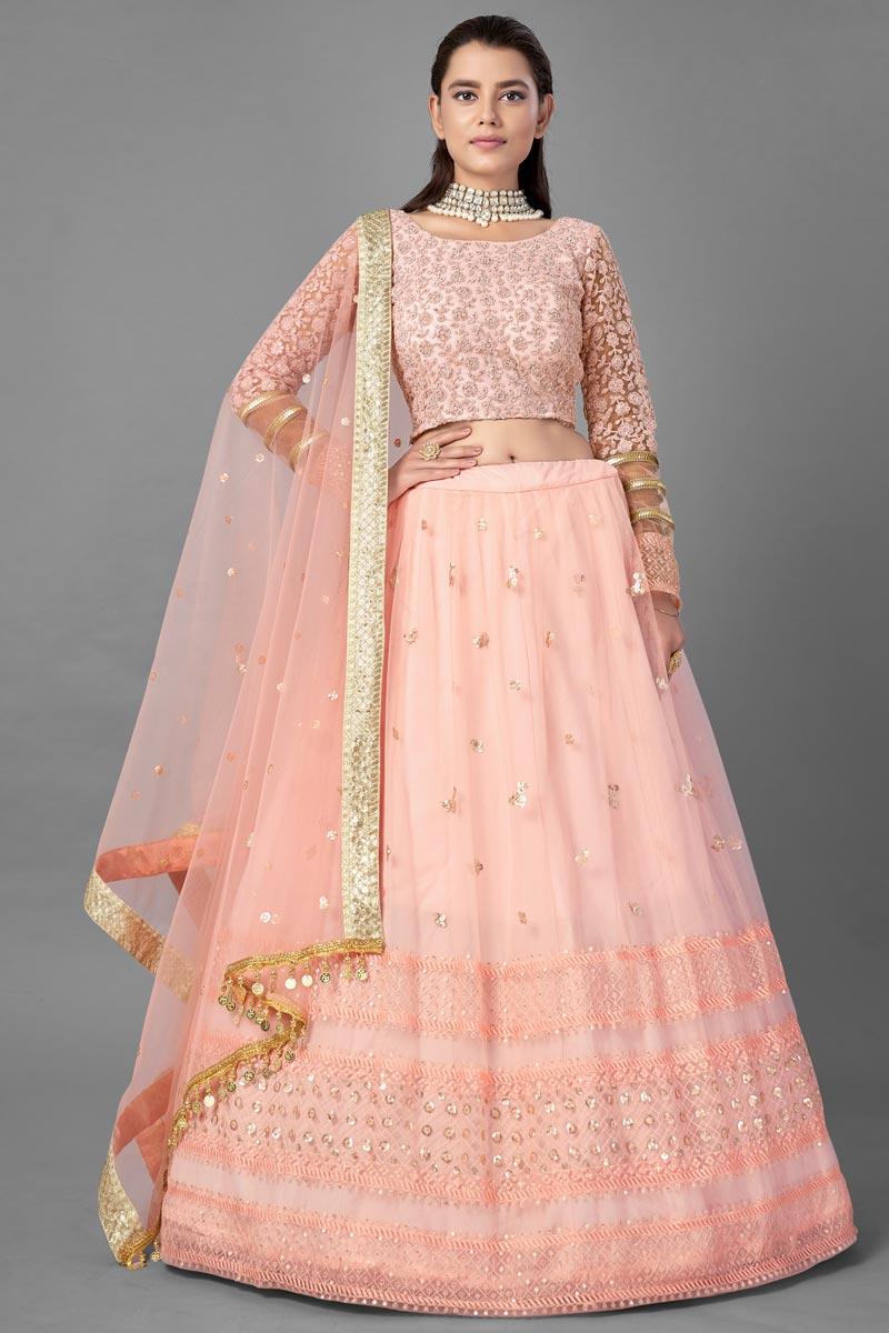 Net Fabric Reception Wear  Fancy Work Lehenga Choli