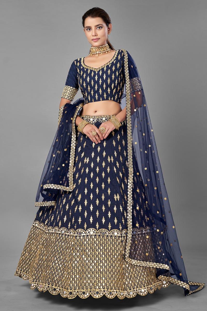 Wedding Wear  Fancy Work Lehenga Choli In Navy Blue Color Art Silk Fabric