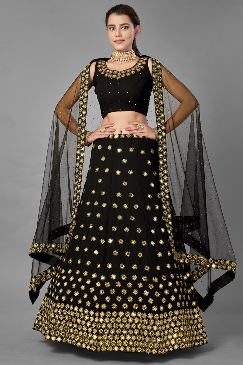 Black Color Georgette Fabric Sangeet Wear  Fancy Work Lehenga Choli