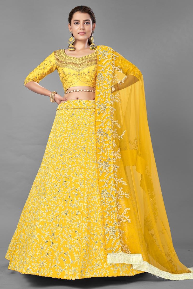 Yellow Color Designer 3 Piece Wedding Wear Lehenga Choli