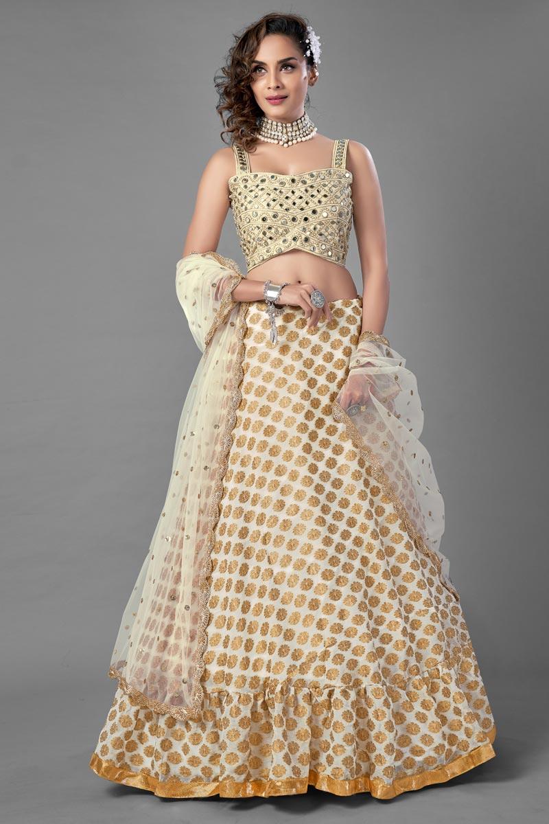 Beige Color  Fancy Work Viscose Fabric Wedding Wear Lehenga Choli