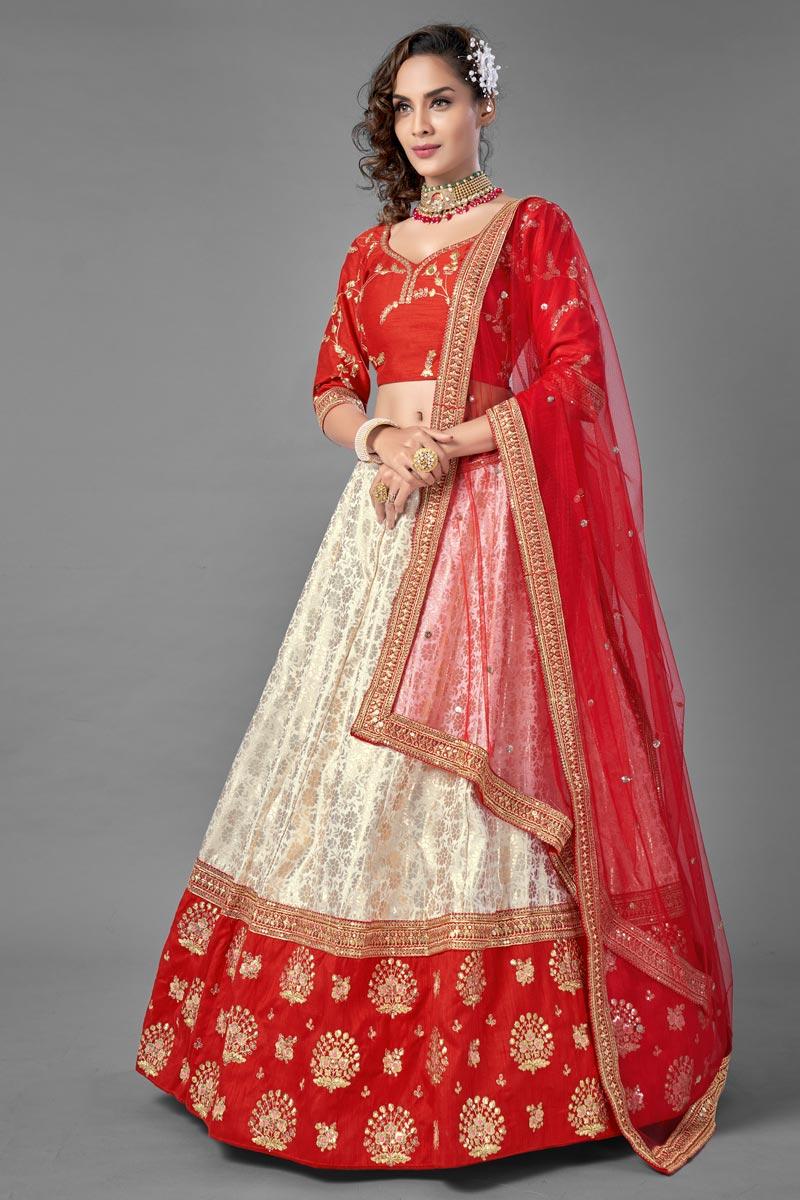 Off White Color Jacquard Fabric  Fancy Work Reception Wear Lehenga Choli