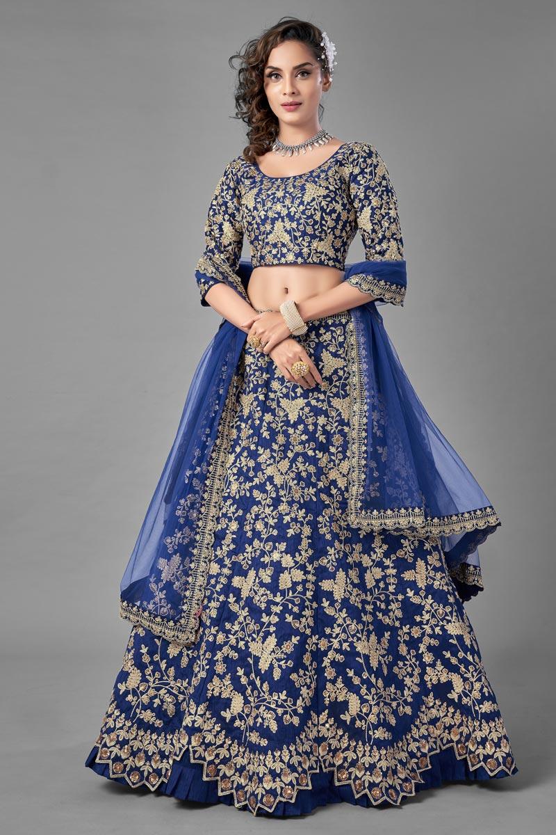 Fancy Work Designs Art Silk Fabric Blue Color Wedding Wear Lehenga Choli