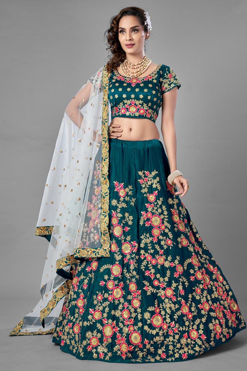 Satin Fabric Teal Color Wedding Wear  Fancy Work Lehenga Choli