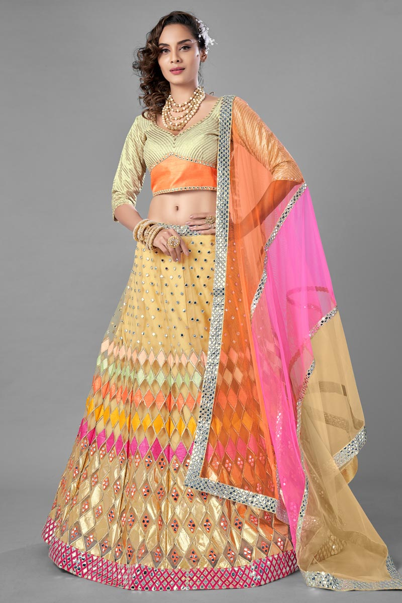 Beige Color Designer  Fancy Work Lehenga Choli In Net Fabric