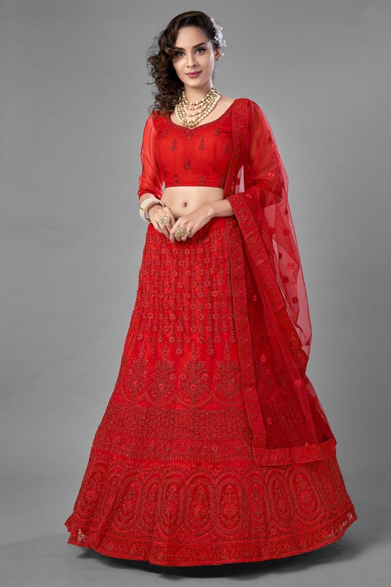 Fancy Work Wedding Wear Lehenga Choli In Red Color