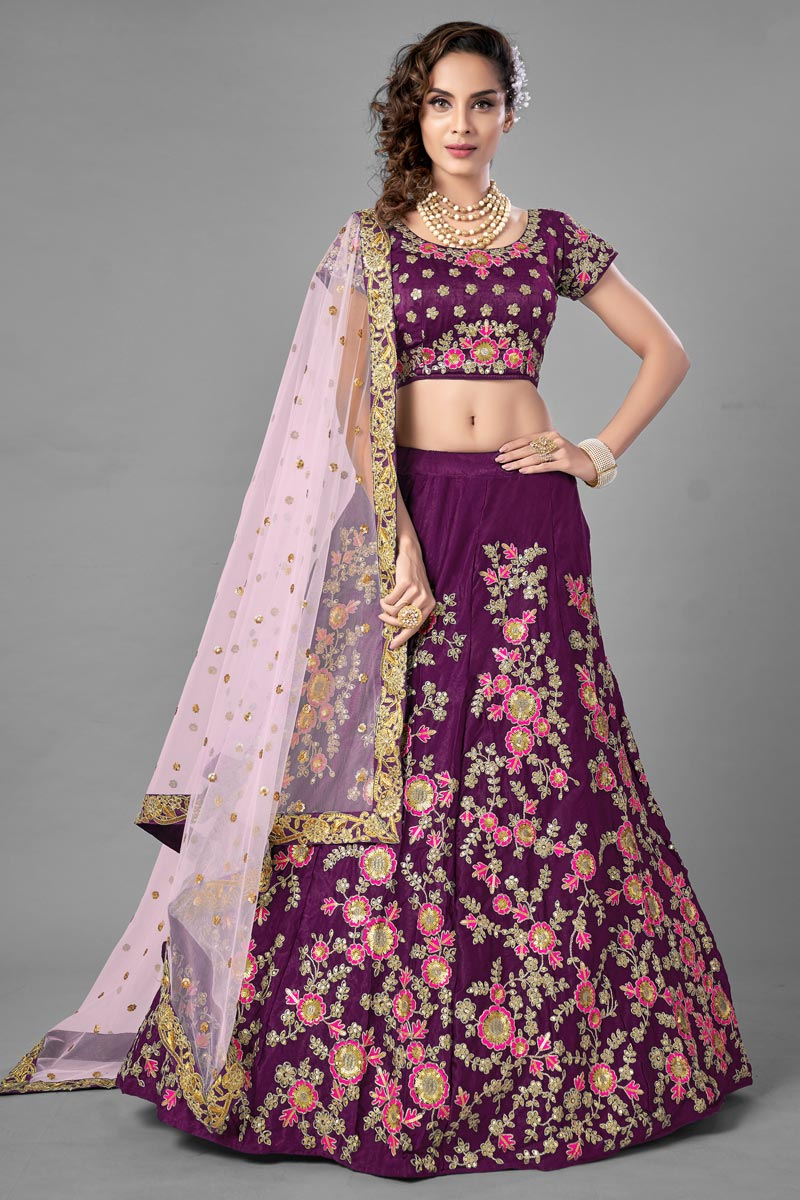 Purple Color Designer  Fancy Work Lehenga Choli