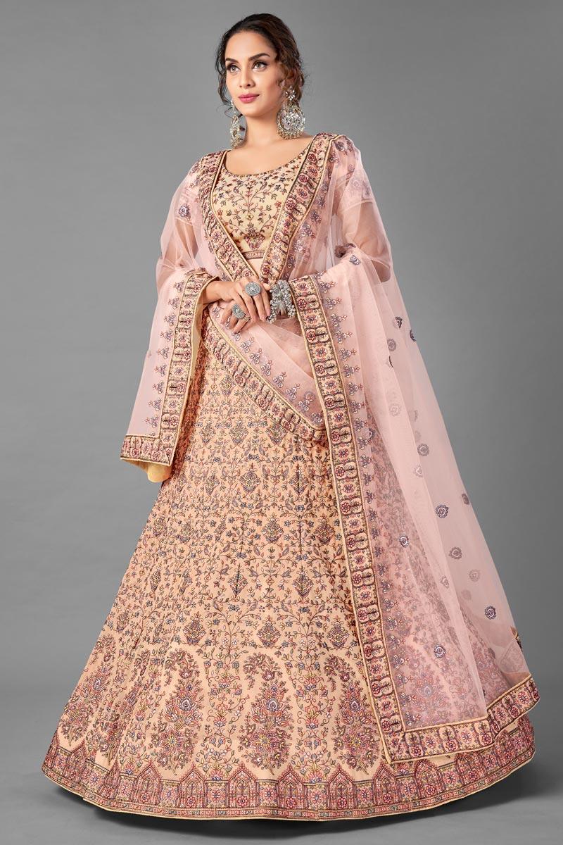 Georgette Fabric Wedding Wear Peach Color Thread Embroiderd Lehenga Choli