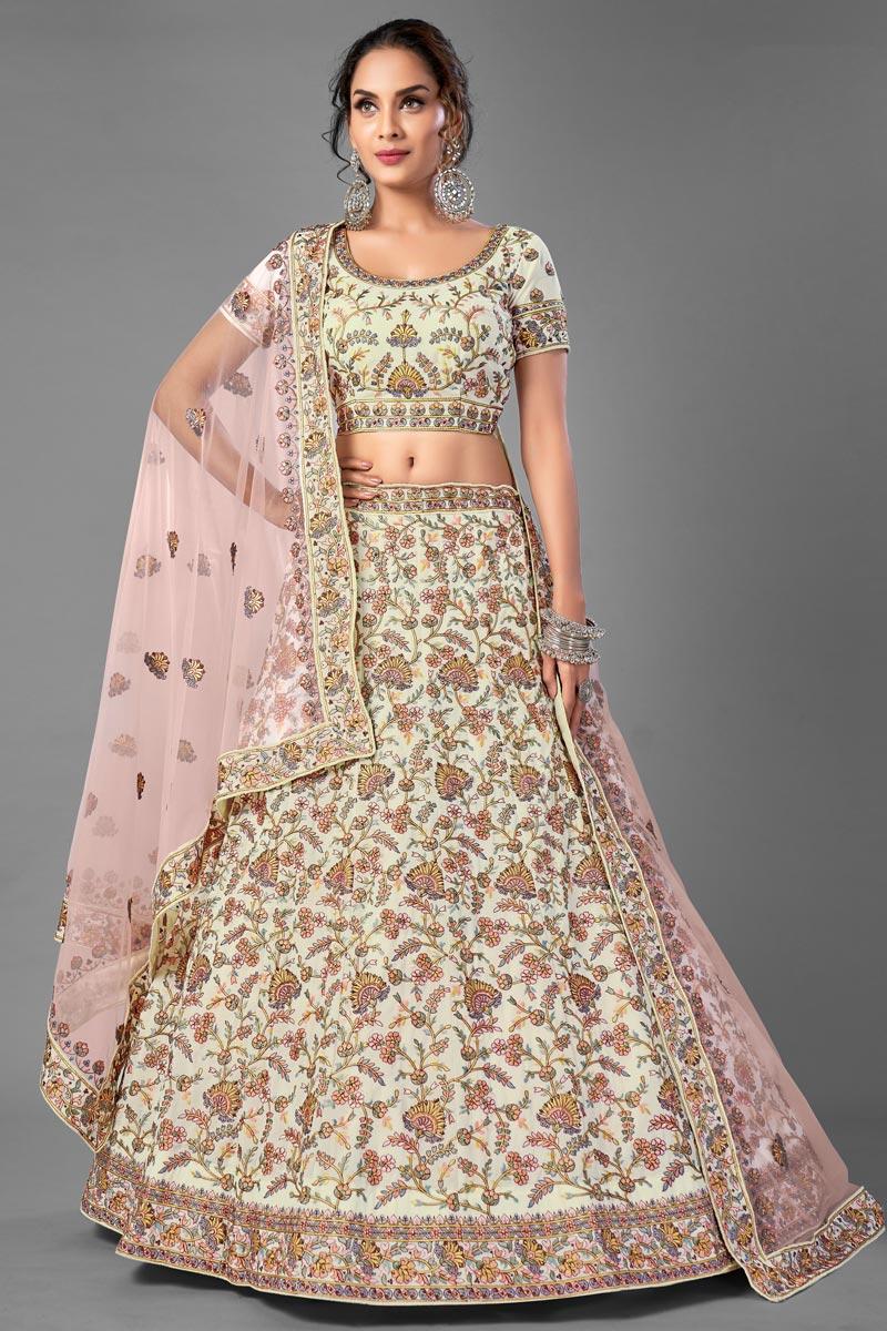 Beige Color Thread Embroiderd Reception Wear Lehenga Choli In Georgette Fabric