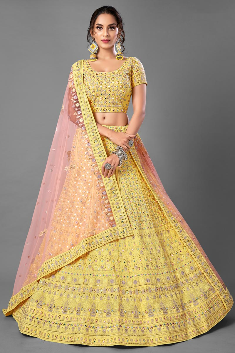 Sangeet Wear Georgette Fabric Thread Embroiderd Lehenga Choli In Yellow Color
