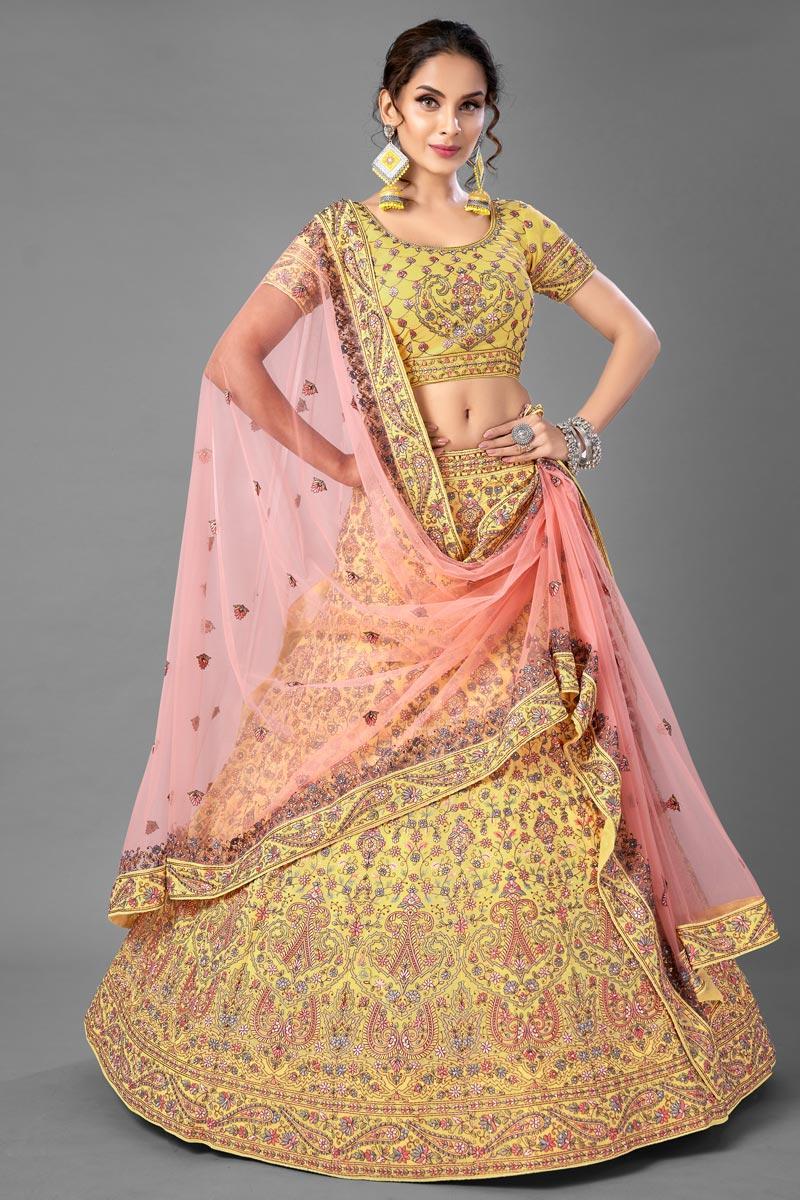 Wedding Wear Yellow Color Georgette Fabric Thread Embroiderd Lehenga Choli