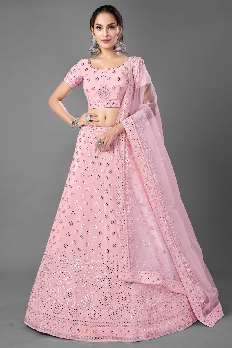 Pink Color Reception Wear Georgette Fabric Thread Embroiderd Lehenga Choli