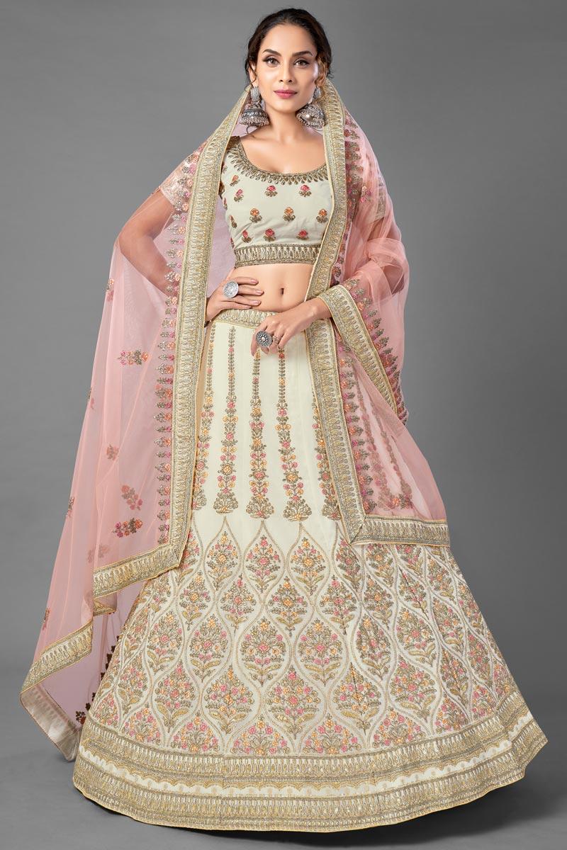 Beige Color Georgette Fabric Fancy Thread Embroiderd Sangeet Wear Lehenga Choli