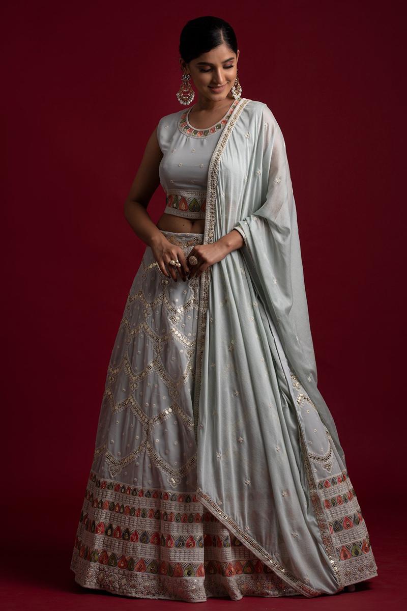 Sangeet Wear Grey Color Thread Work Readymade Lehenga Choli In Georgette Fabric
