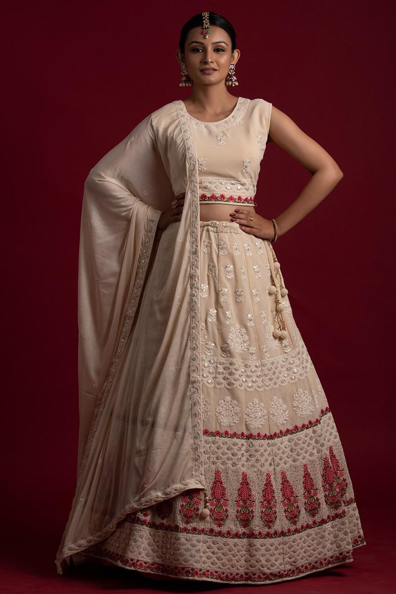 Georgette Fabric Sangeet Wear Peach Color Thread Work Readymade Lehenga Choli