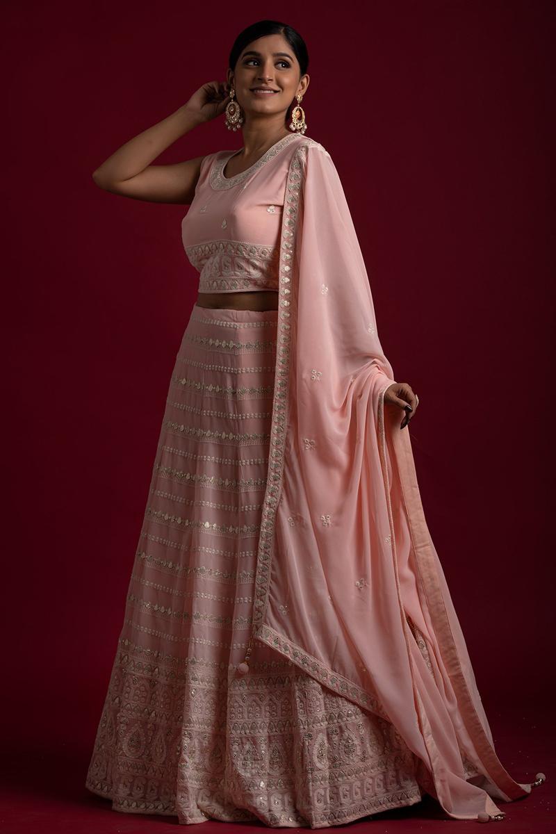 Pink Color Thread Work Sangeet Wear Readymade Lehenga Choli In Georgette Fabric