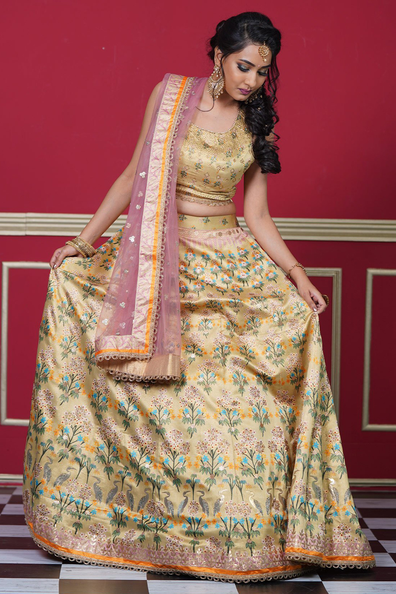 Reception Wear Beige Color Art Silk Fabric Printed Readymade Lehenga Choli