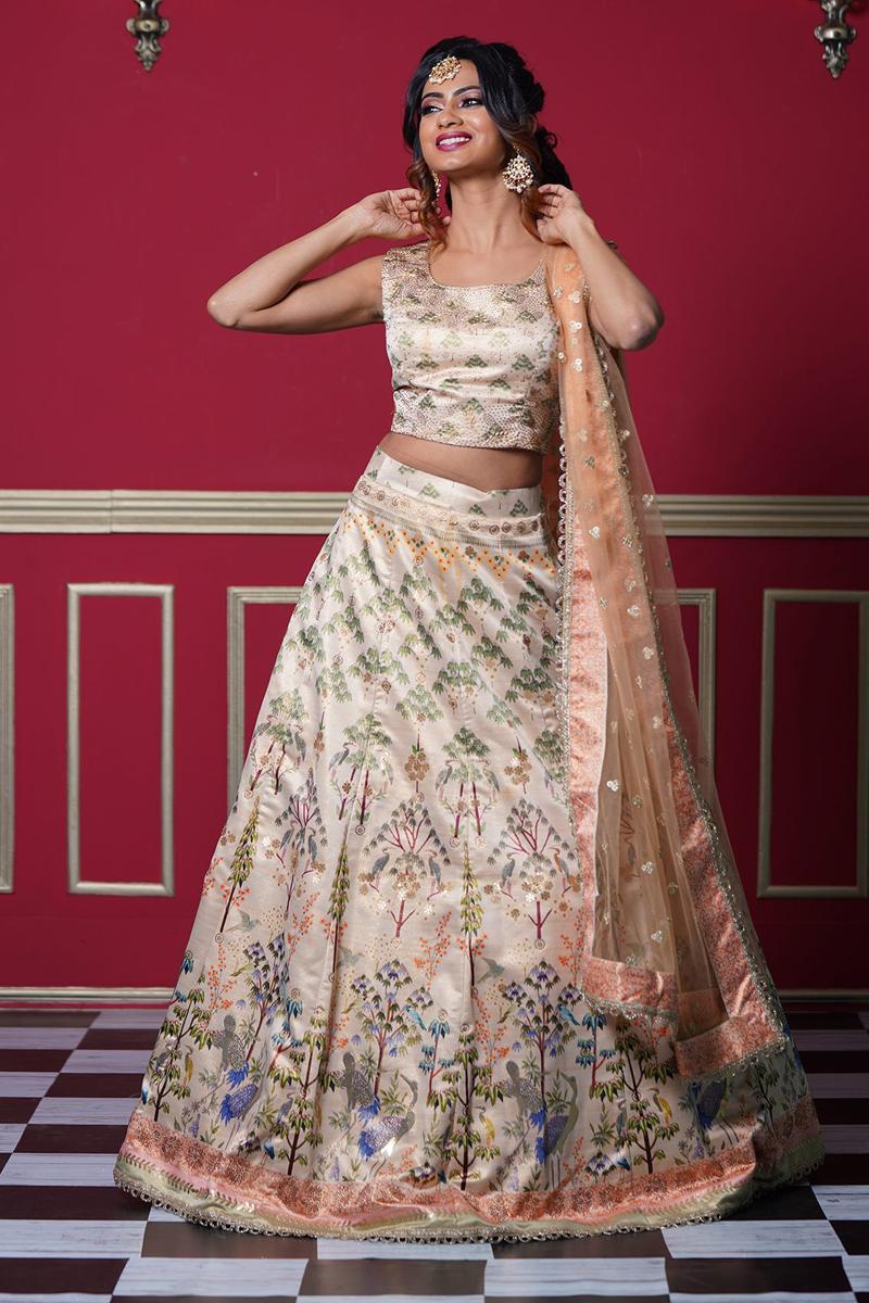Cream Color Reception Wear Art Silk Fabric Printed Readymade Lehenga Choli