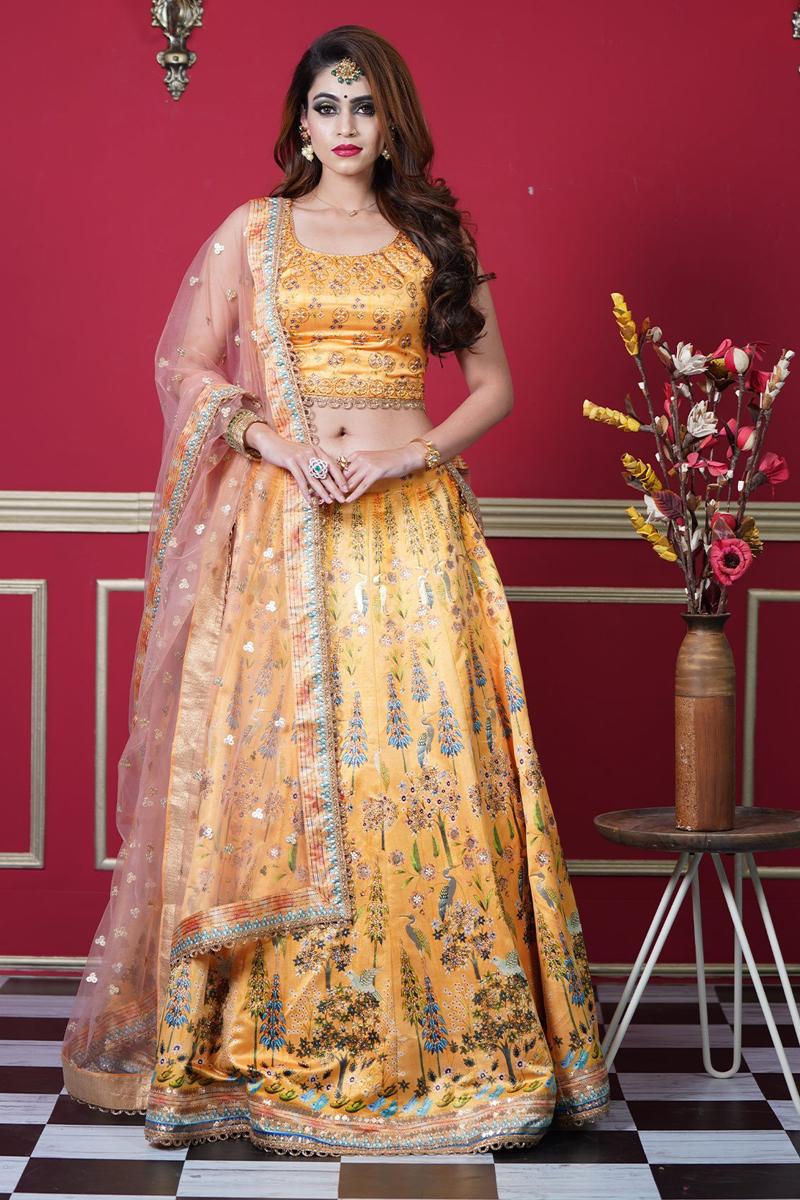 Yellow Color Art Silk Fabric Fancy Printed Reception Wear Readymade Lehenga Choli