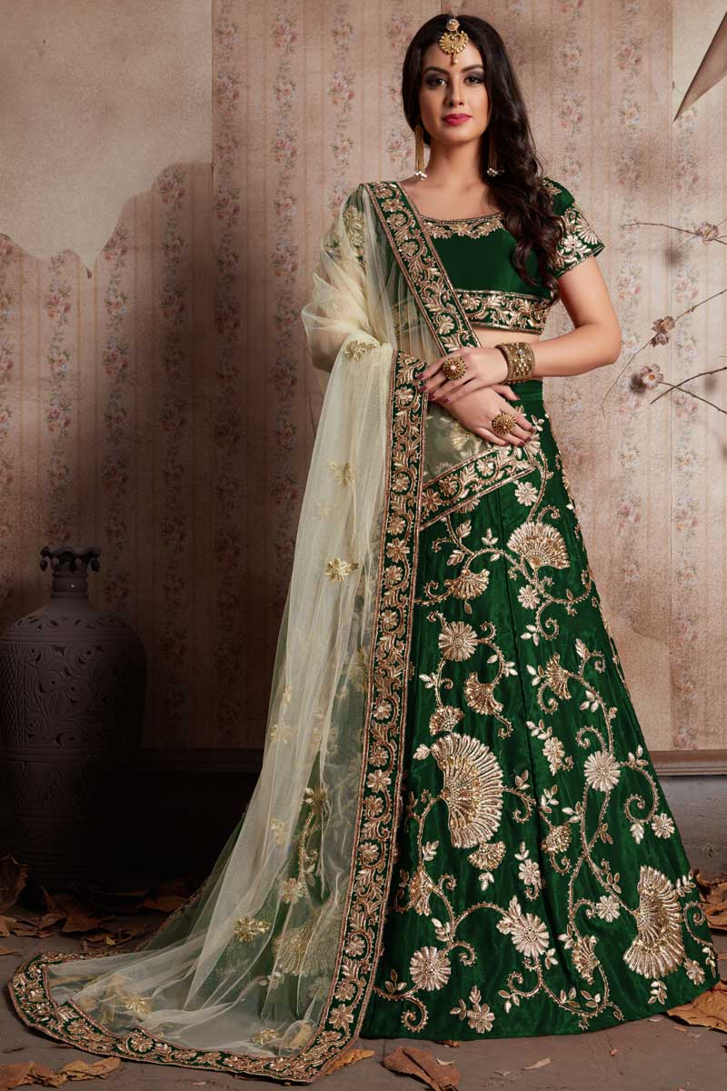 Best Selling Exclusive Art Silk Embellished Fancy Lehenga Choli In Dark Green