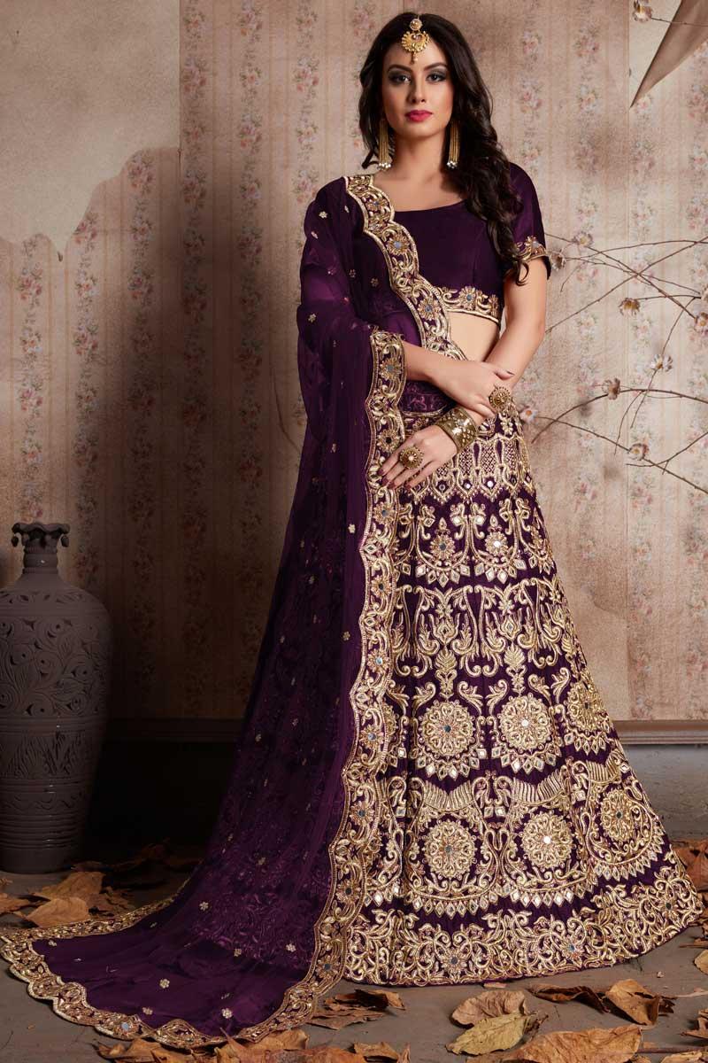 Best Selling Exclusive Designer Embroidered Purple Art Silk Lehenga Choli