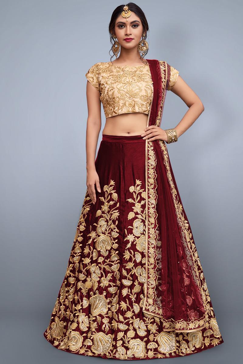 Best Selling Exclusive Maroon Function Wear Alluring Fancy Lehenga In Art Silk Fabric
