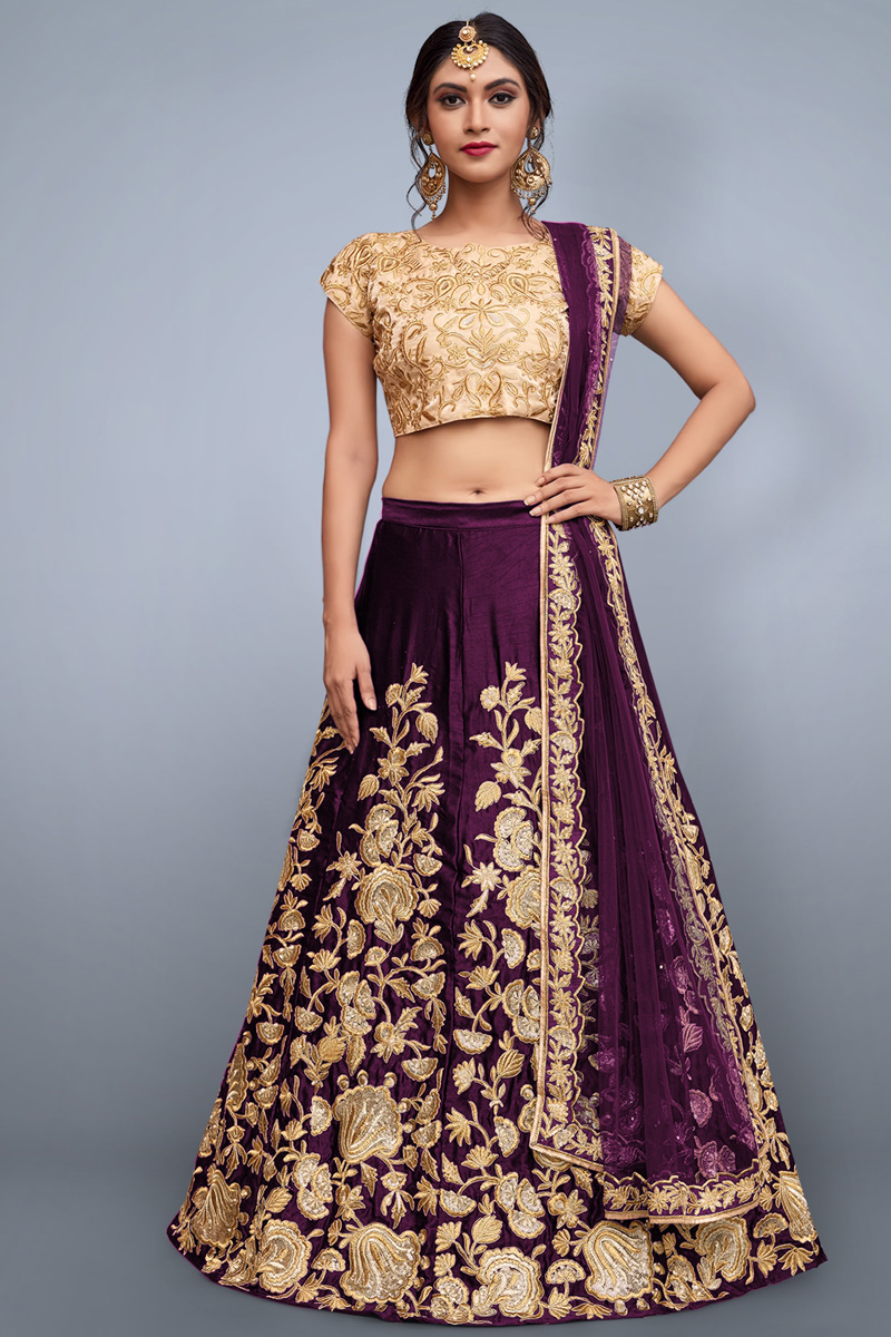 Best Selling Exclusive Designer Embroidered Art Silk Fabric Purple Lehenga Choli