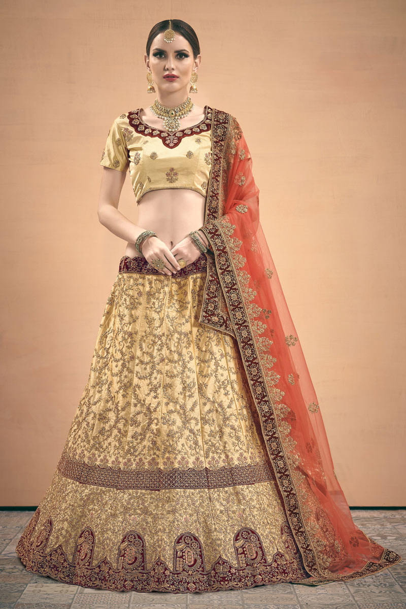 Exclusive Beige Color Wedding Wear 3 Piece Lehenga In Satin Fabric With Embroidery Work