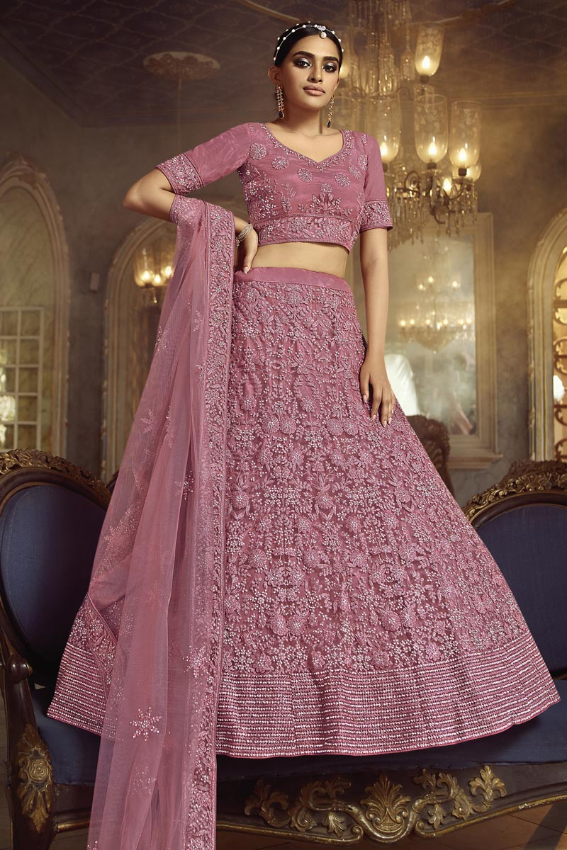 Embroidered Pink Color Wedding Lehenga