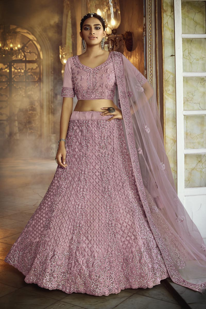 Net Fabric Pink Color Wedding Wear 3 Piece Lehenga Choli