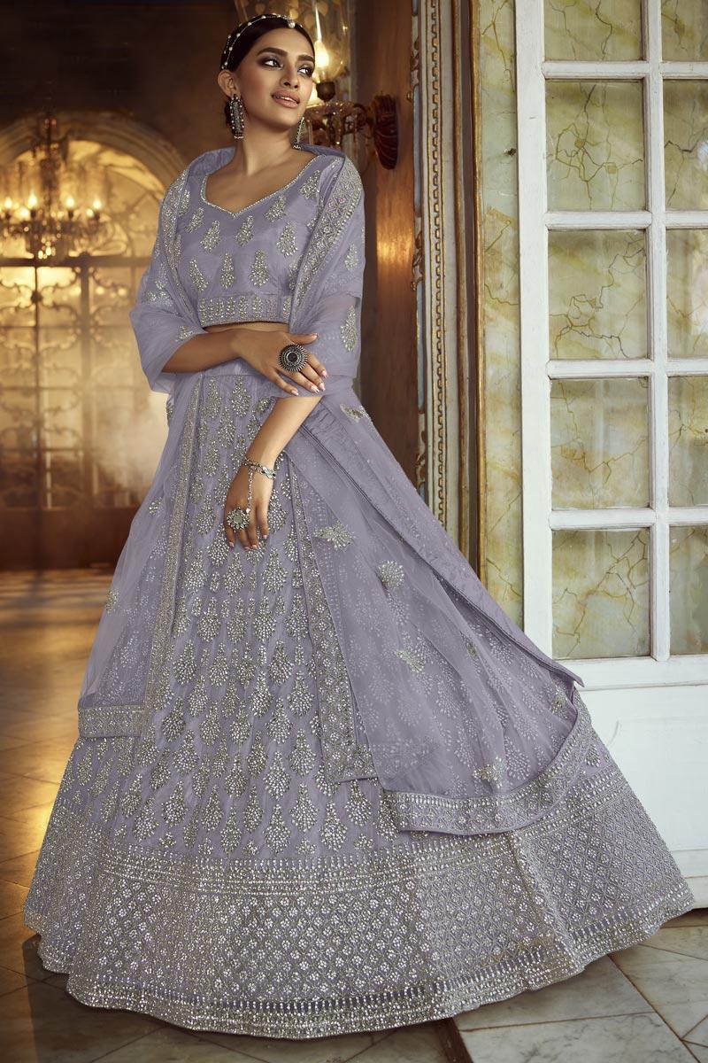 Lavender Color Designer Wedding Lehenga