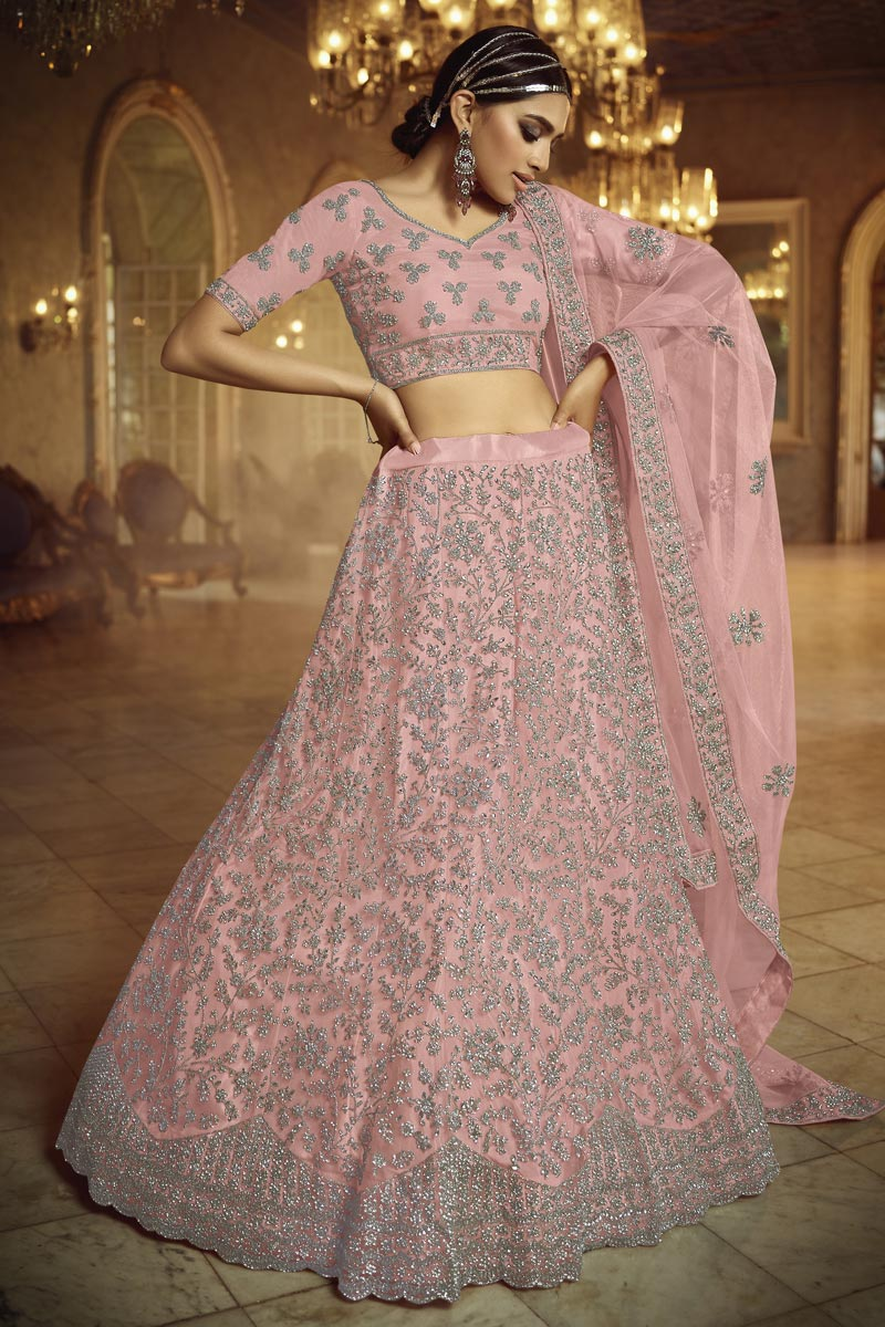 Peach Color Net Fabric Reception Wear Lehenga Choli