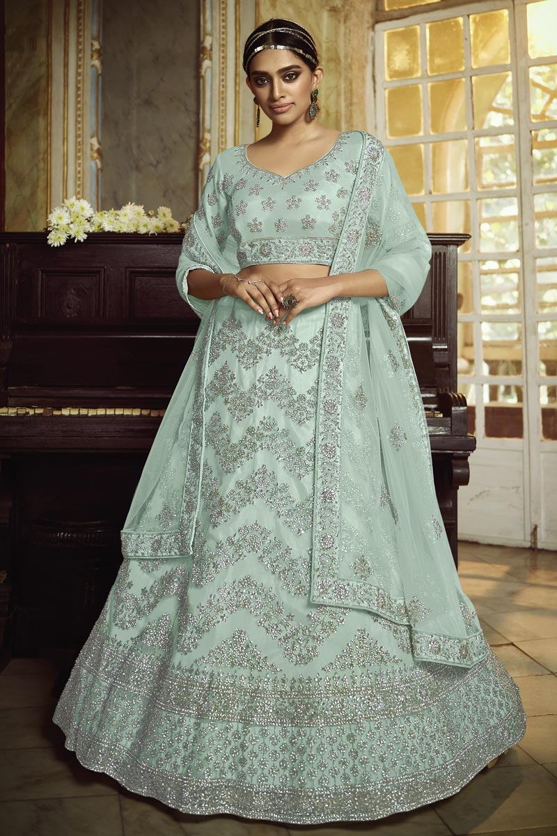 Sea Green Color Net Fabric Sangeet Wear Lehenga
