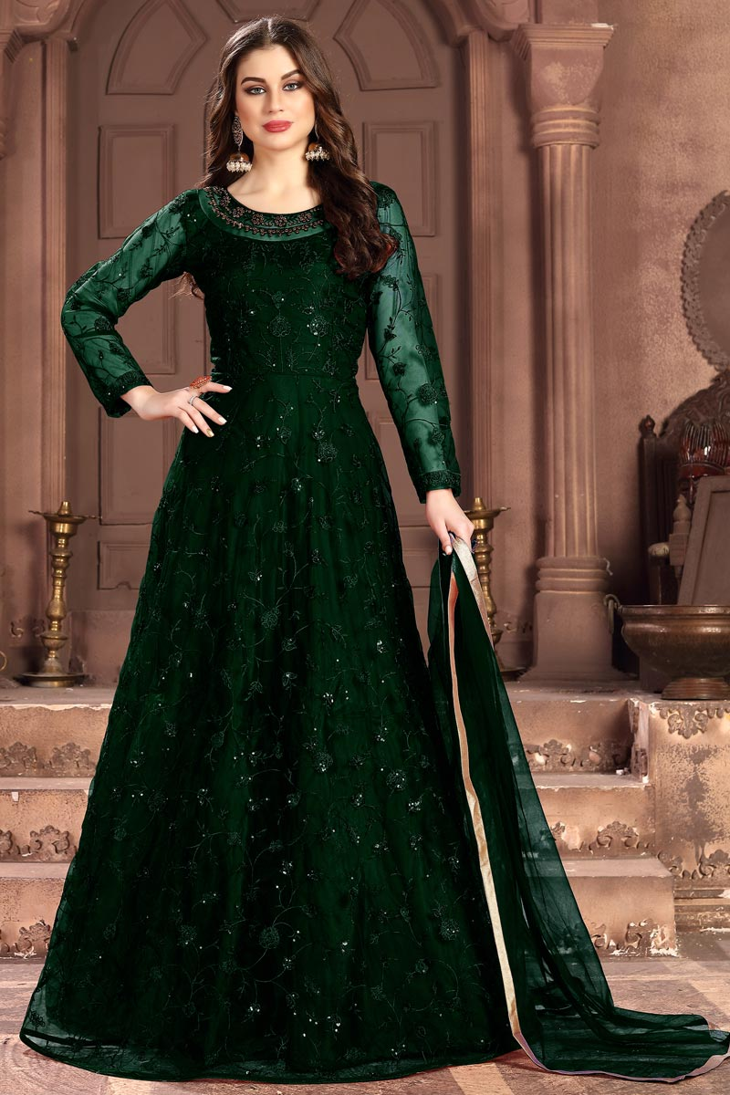Sangeet Wear Net Fabric Embroidered Floor Length Anarkali Dress In Dark Green