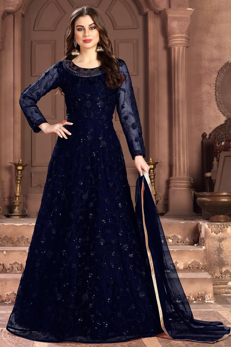 Eid Special Net Fabric Sangeet Wear Navy Blue Embroidered Long Length Anarkali Suit