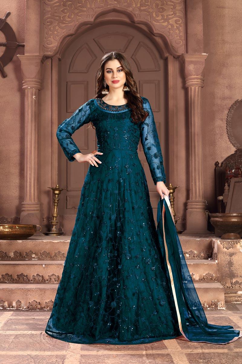Net Fabric Sangeet Wear Teal Color Long Length Embroidered Anarkali Suit