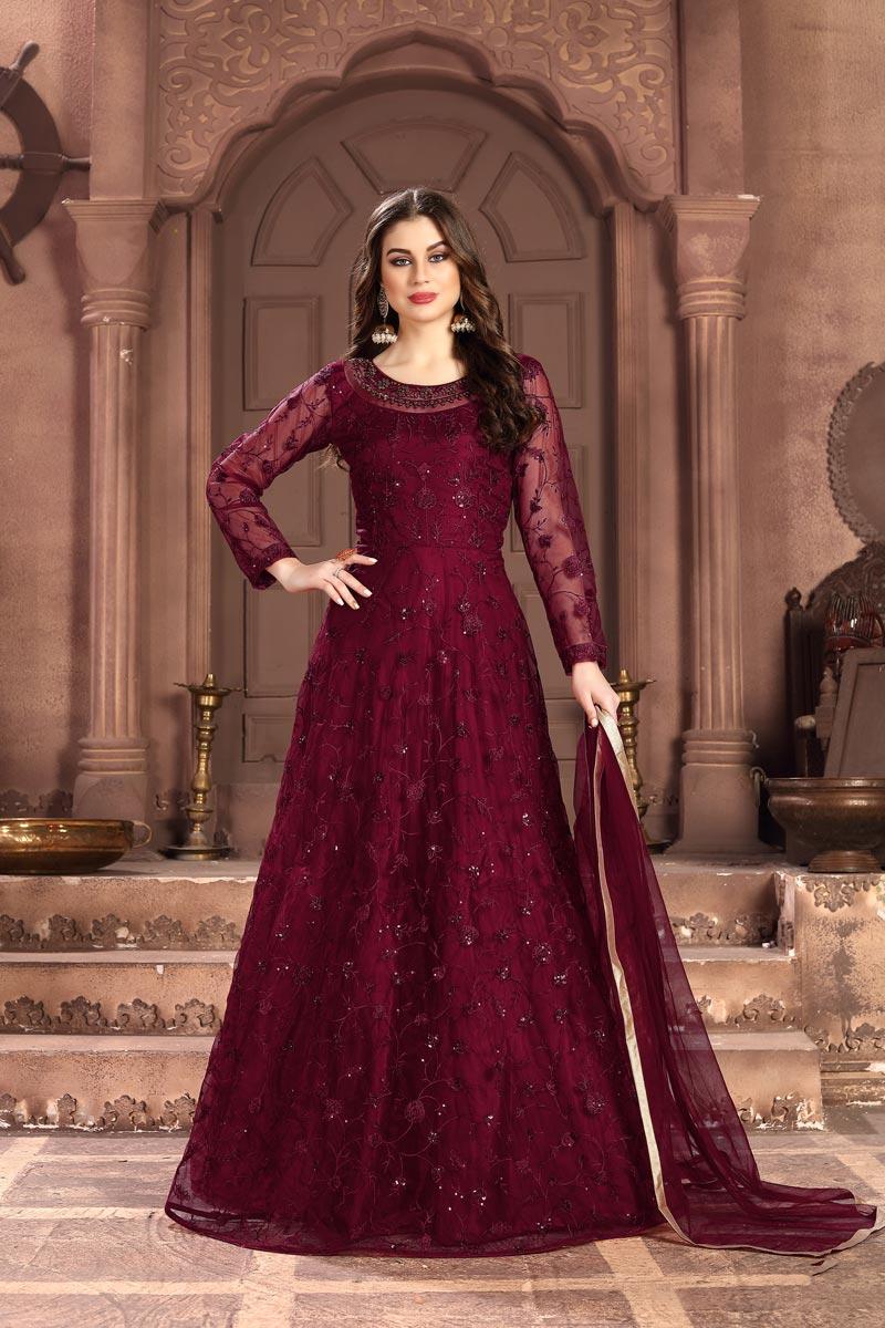 Sangeet Wear Net Fabric Embroidered Floor Length Anarkali Dress In Maroon Color