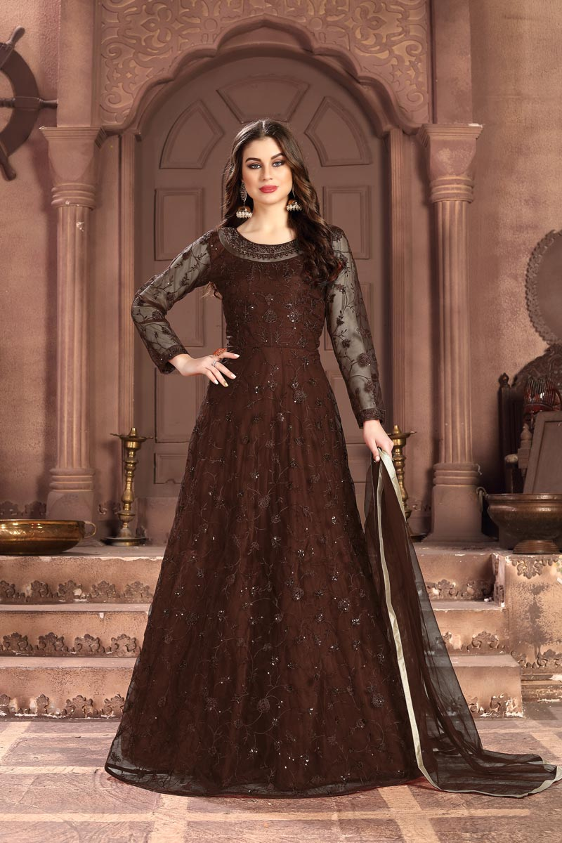 Brown Color Sangeet Wear Embroidered Floor Length Anarkali Dress In Net Fabric