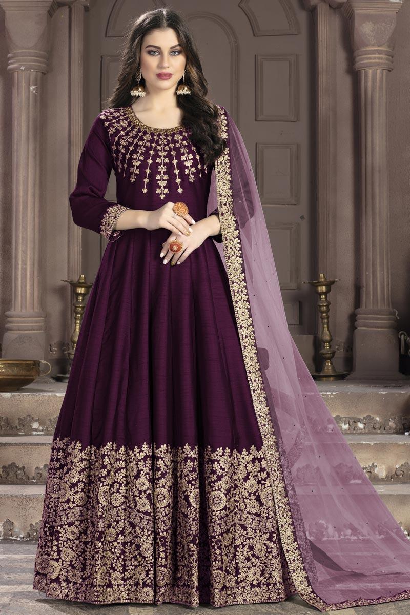 Fancy Traditional Wear Purple Art Silk Embroidered Anarkali Suit
