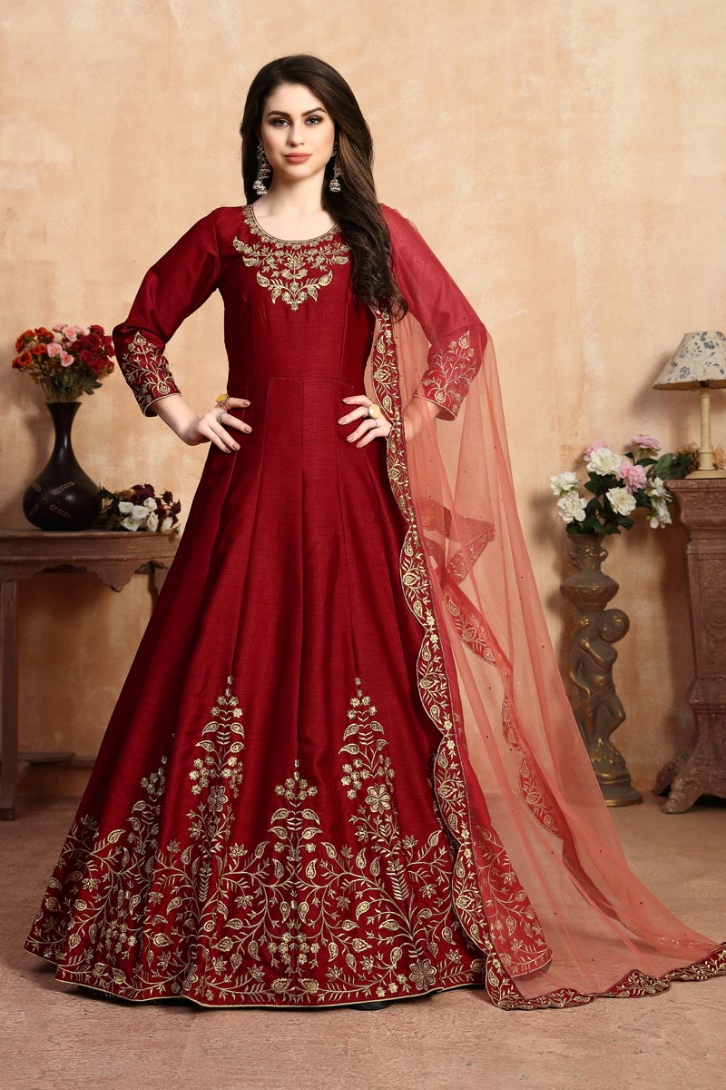 Fancy Art Silk Sangeet Wear Embroidered Red Floor Length Anarkali Suit