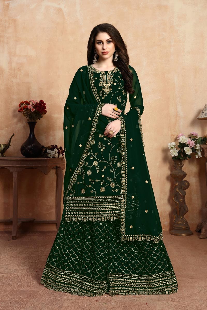 Embellished Georgette Fabric Designer Party Wear Palazzo Suit In Dark Green Color