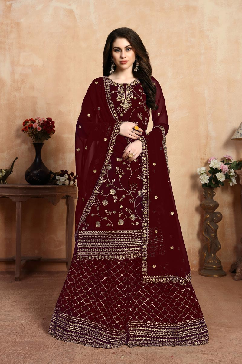Eid Special Maroon Color Georgette Fabric Function Wear Palazzo Suit With Fancy Embroidery Work