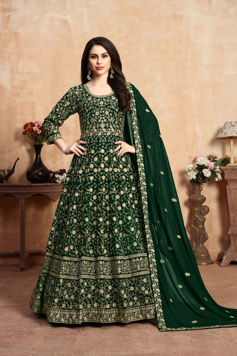 Eid Special Embroidered Georgette Fabric Dark Green Color Long Fancy Anarkali Suit